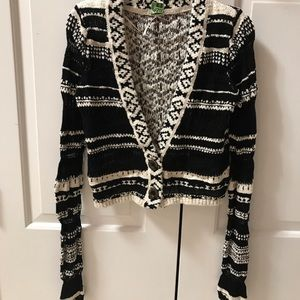 Free People Crop Black/White Sweater XS/P